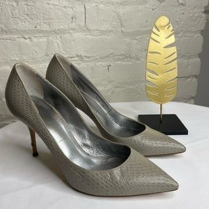 Casadei Gray Snakeskin Pointed Toe Pumps 9
